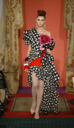 Christian Lacroix black dress with white dots.PNG