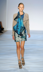 Causal short dress with tan jacket from Christian Siriano Spring 2010 Collection picture.PNG