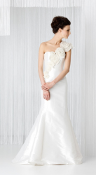 Angel Sanchez Bridal gown with one shoulder with big roses.PNG