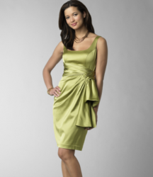 Green Side Gather Stretch Satin Dress by Maggy London designer.PNG
