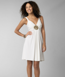 Maggy London Sequin Matte Jersey Dress in soft white with round gold in the center.PNG