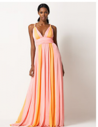 Michael Kors Chiffon Ombre Gown in Orange and light pink.PNG