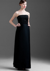 Mary McFadden Couture Vintage Evening Gown with crinkled crepe bodice and quilted full skirt.PNG