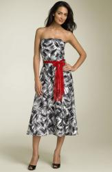 Lily Strapless Print Party Dress in red bow.jpg