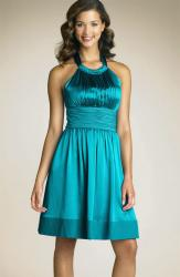 Adrianna Papell Gathered Cutaway Halter Dress Turquoise.jpg