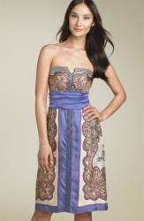 Nicole Miller Strapless Print Silk Sheath purplr.jpg