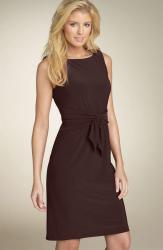 Anne Klein Dress Tie Front Stretch Jersey Dress brown.jpg