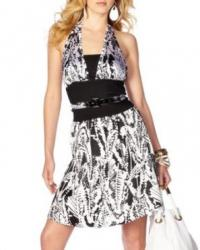 Feather Print Halter Dress black and white.jpg