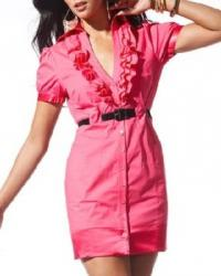 Ruffled Collar V-Neck Shirt Dress pink.jpg