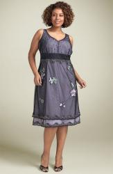 cute looking plus size dress_Adrianna Papell Beaded Mesh Overlay Dress.jpg