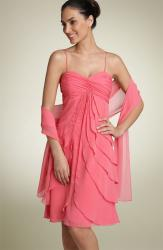 Cachet Flyaway Front Satin Dress with Wrap in coral color.jpg