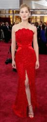 Rosamund Pike in Givenchy Haute Couture in red at 2015 Oscar red carpet to attend the 87th Annual Academy.JPG