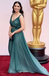 America Ferrera in an ombré Jenny Packham gown and Irene Neuwirth jewelry on the red carpet for the 87th Oscars pictures.JPG