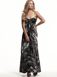 Laundry by Shelli Segal Strapless, Pleated, Printed Gown.JPG