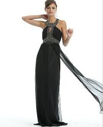 Long Black Silk Dress with Beaded Collar Neckline by Marc Bouwer Glamit.JPG