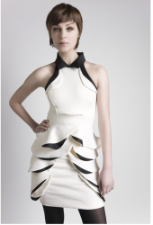 Project runway 5 winner  Leanne Marshall collection with white and black pattern dress looking very cool.PNG